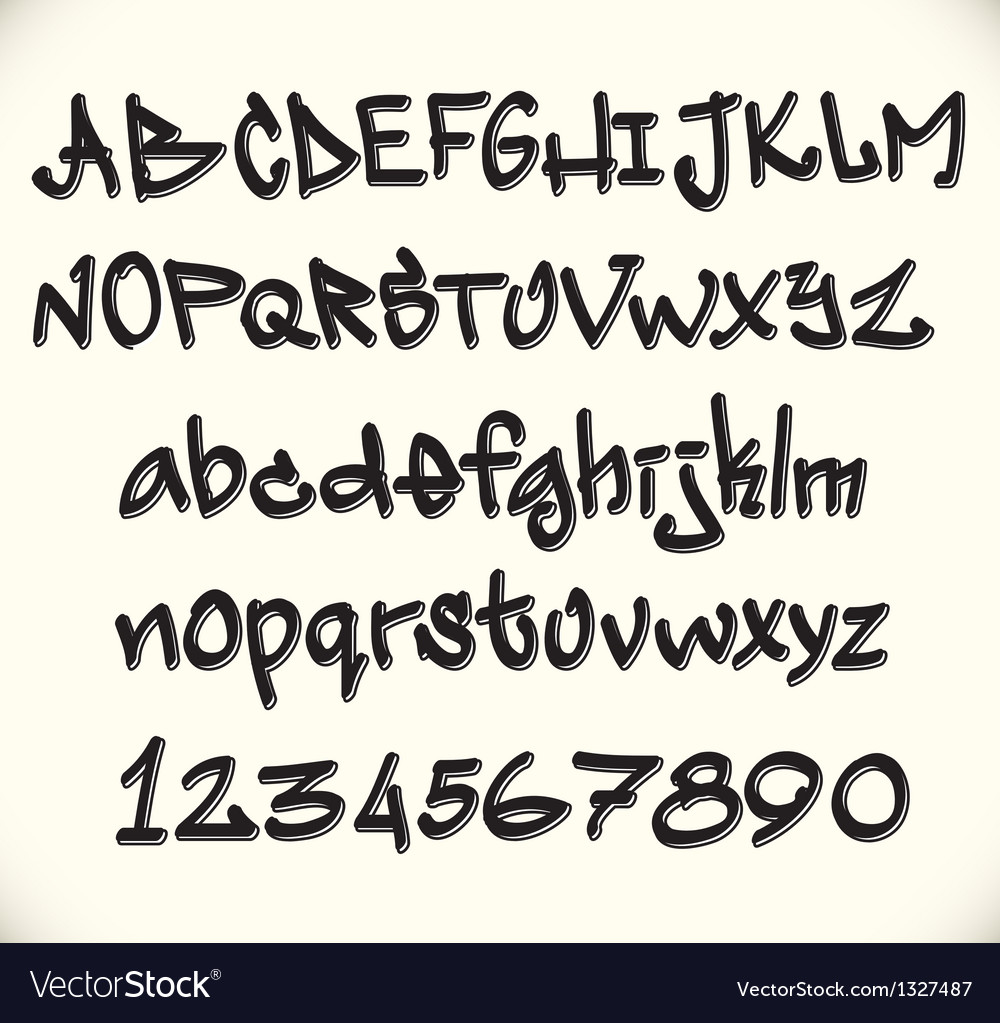 Graffiti font alphabet abc letters vector | Price: 1 Credit (USD $1)