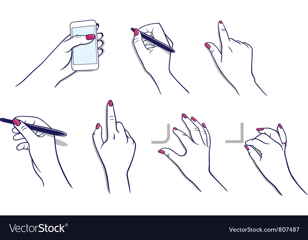 Hands using tablet media player stylus vector | Price: 1 Credit (USD $1)
