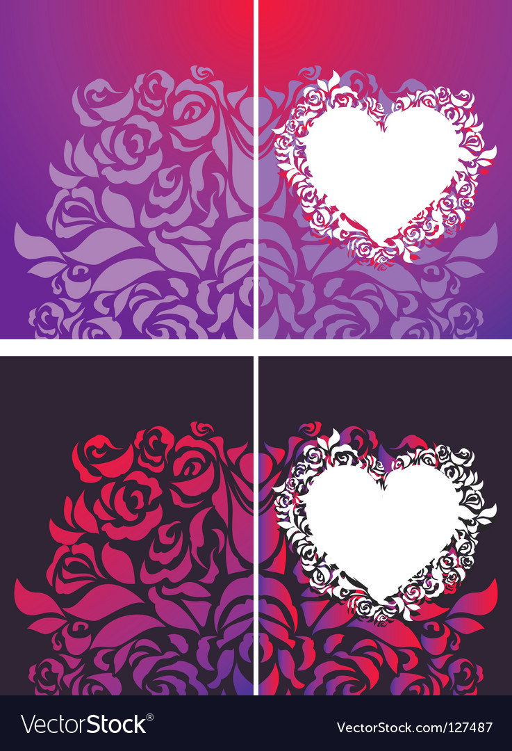 Heart and roses petals backgrounds vector | Price: 1 Credit (USD $1)