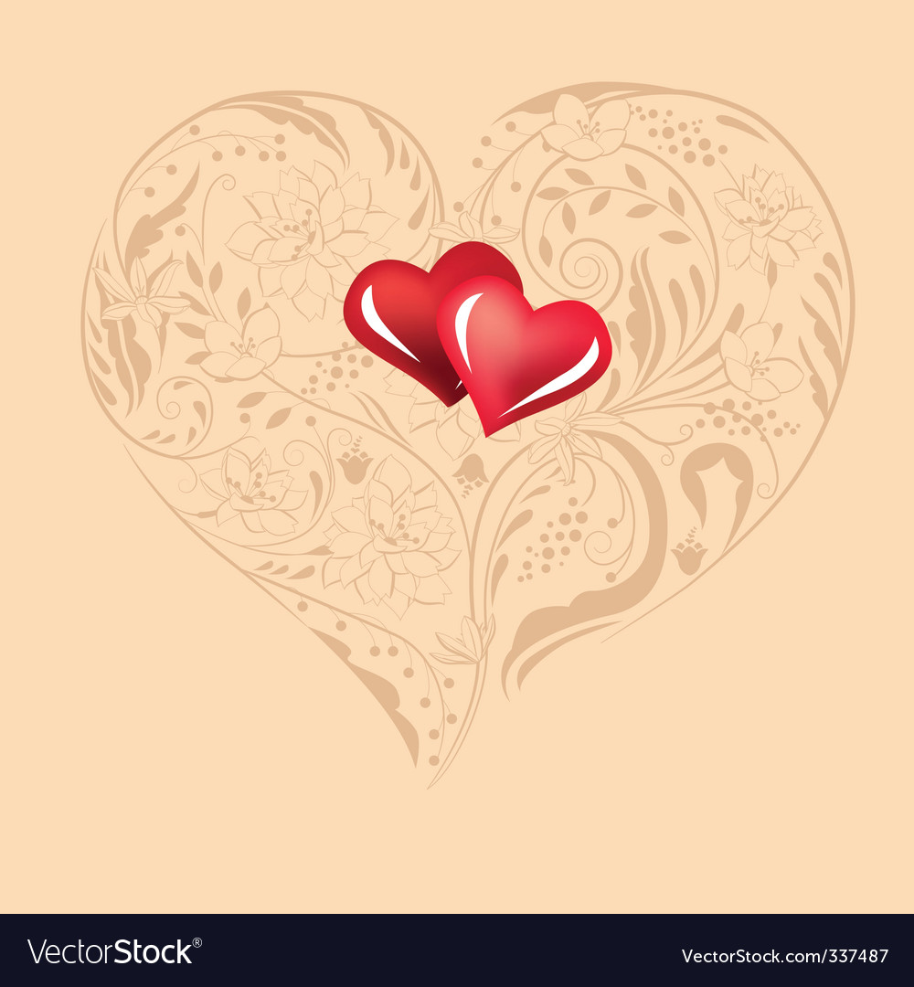 Heart shape made of flowers vector | Price: 1 Credit (USD $1)
