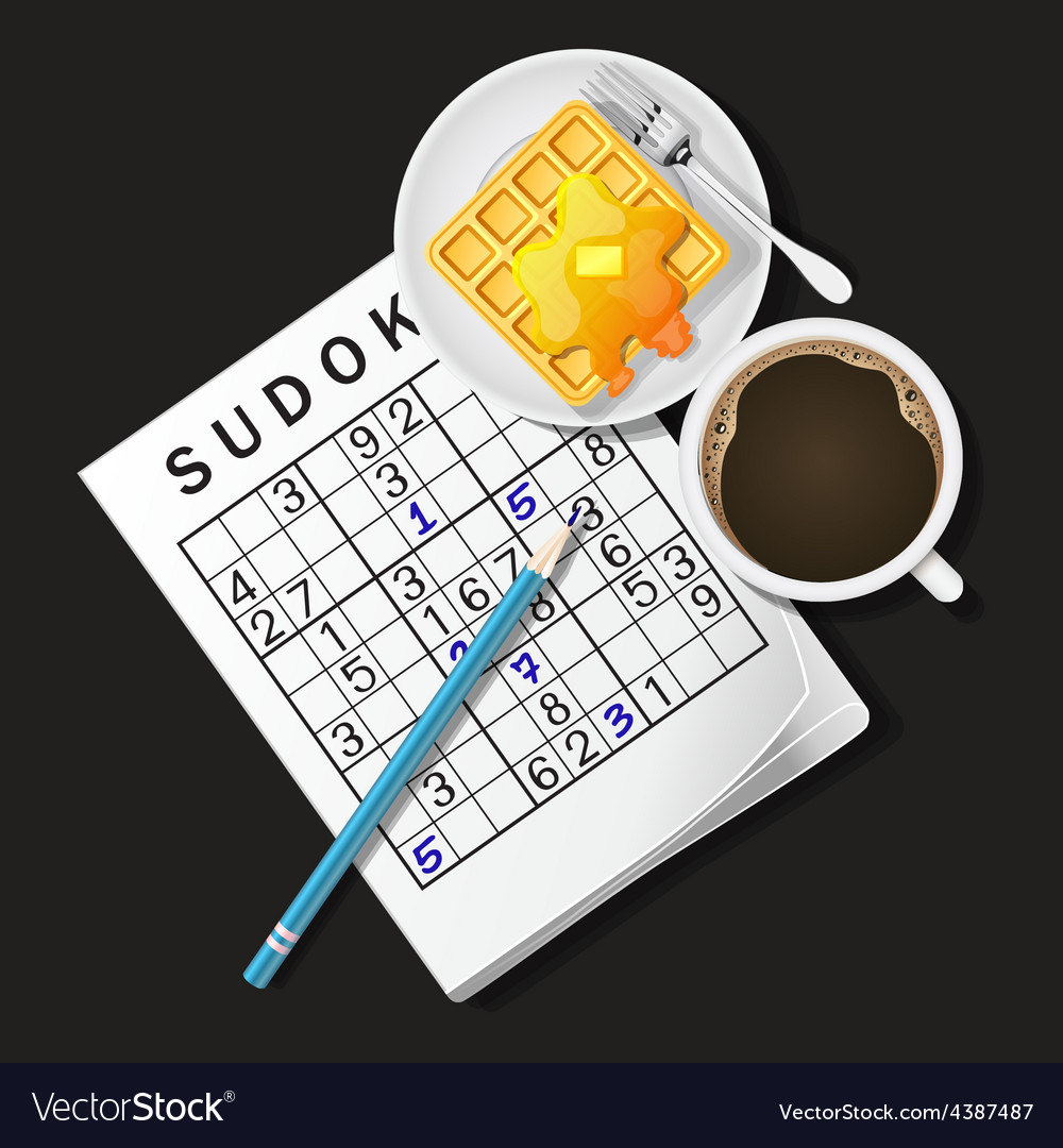 Ilustration of sudoku game mug of coffee and waffl vector | Price: 3 Credit (USD $3)