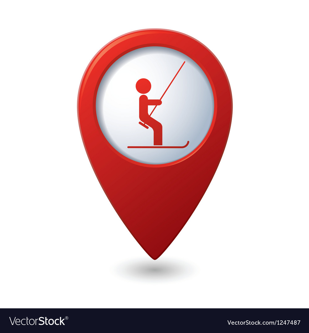 Map pointer with ski lift icon vector | Price: 1 Credit (USD $1)
