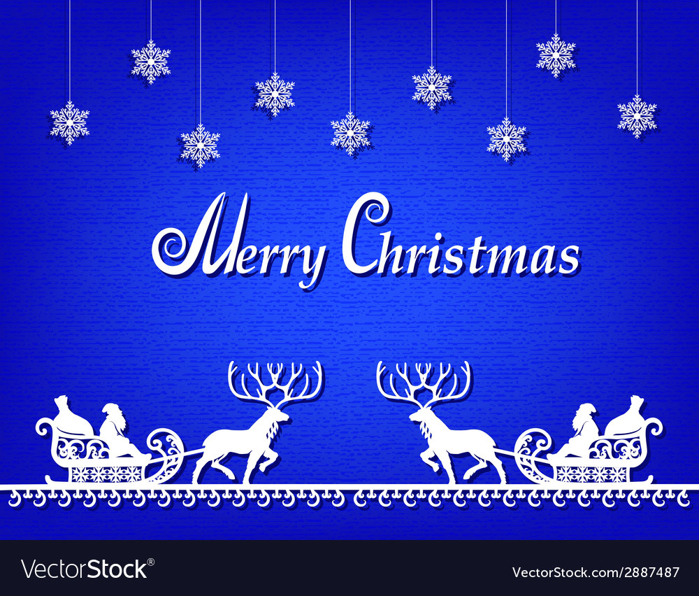Santa claus paper silhouette blue background vector | Price: 1 Credit (USD $1)