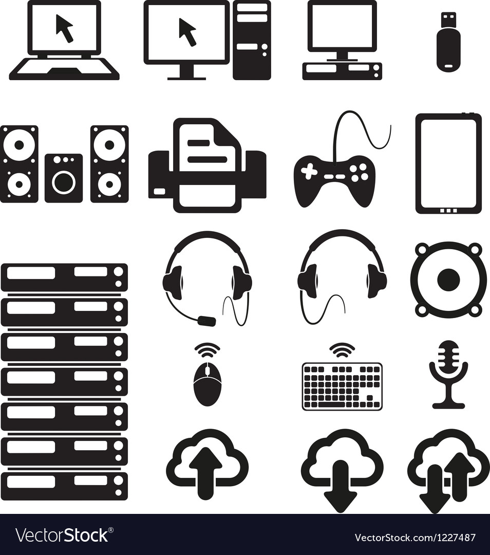 Set of computers and hardware icons vector | Price: 1 Credit (USD $1)