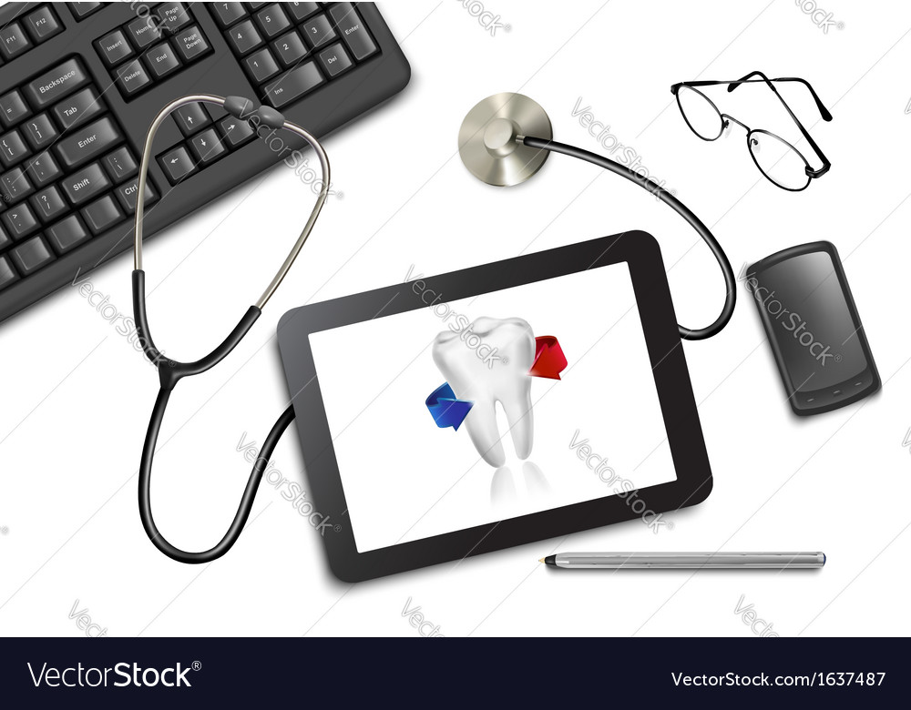 Tablet touch pad and office supplies on the table vector