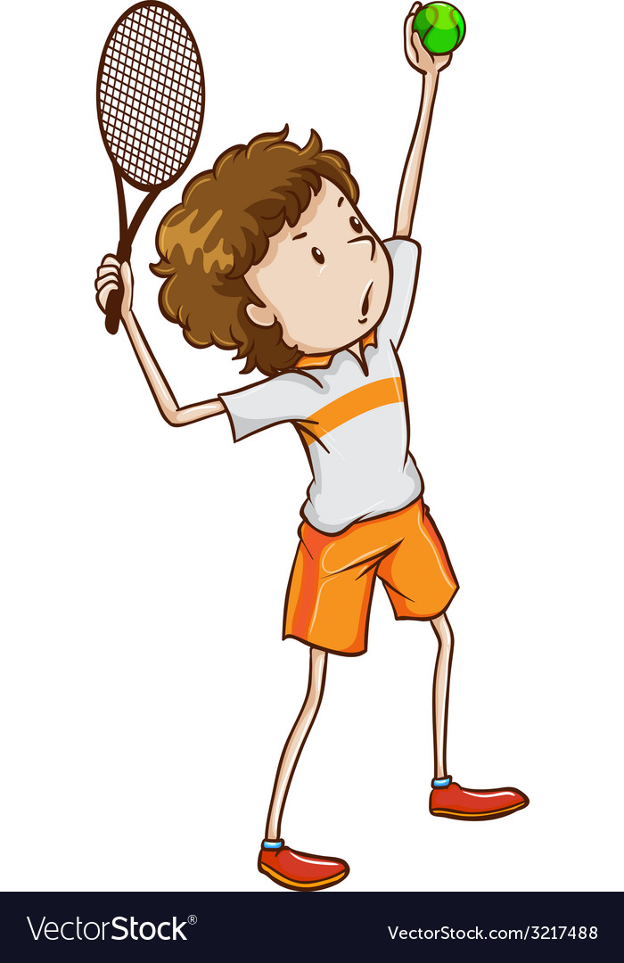 A young tennis enthusiast vector | Price: 1 Credit (USD $1)