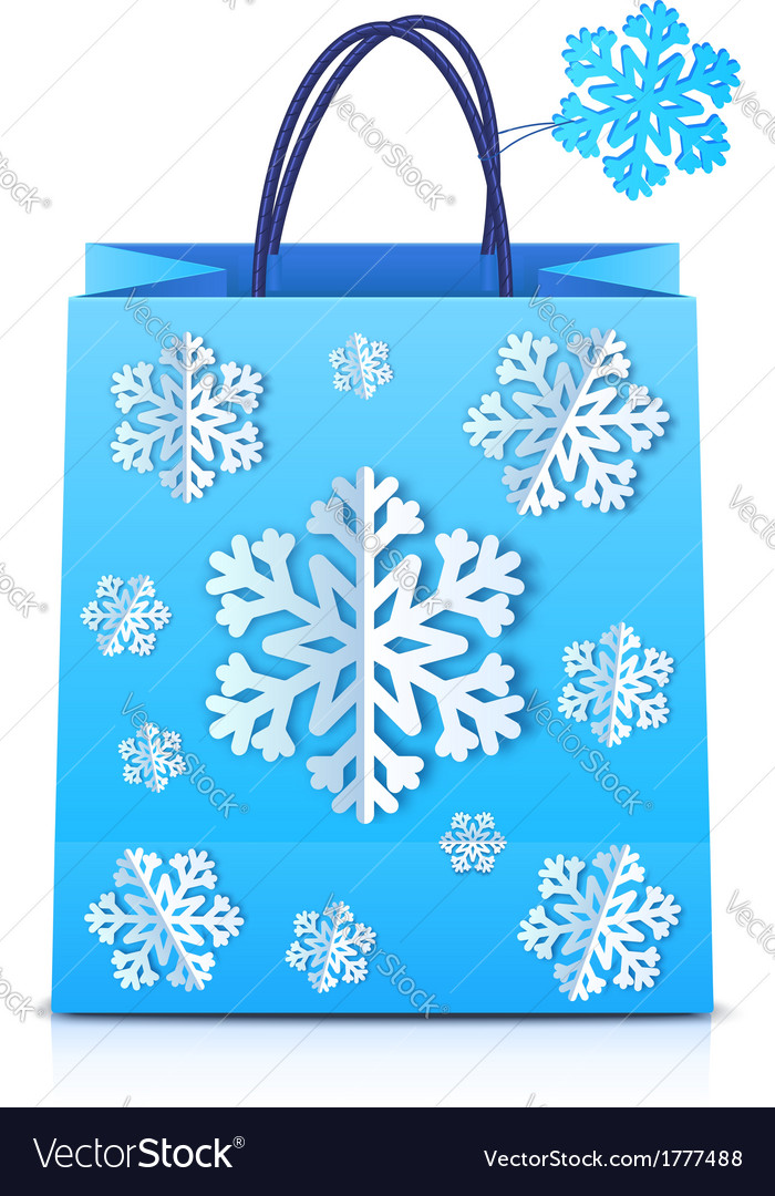 Blue christmas shopping bag with paper snowflakes vector | Price: 1 Credit (USD $1)