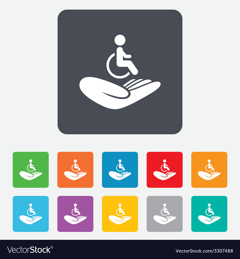 Disabled human insurance sign wheelchair man vector | Price: 1 Credit (USD $1)