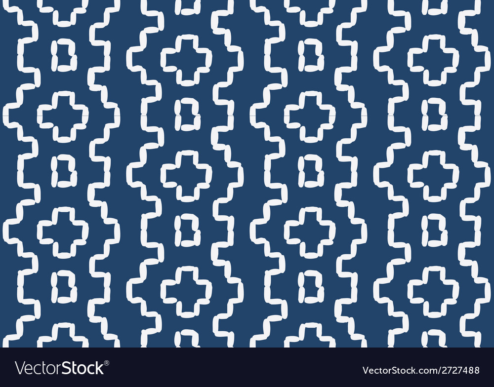 Hand drawn seamless indigo folk pattern vector | Price: 1 Credit (USD $1)