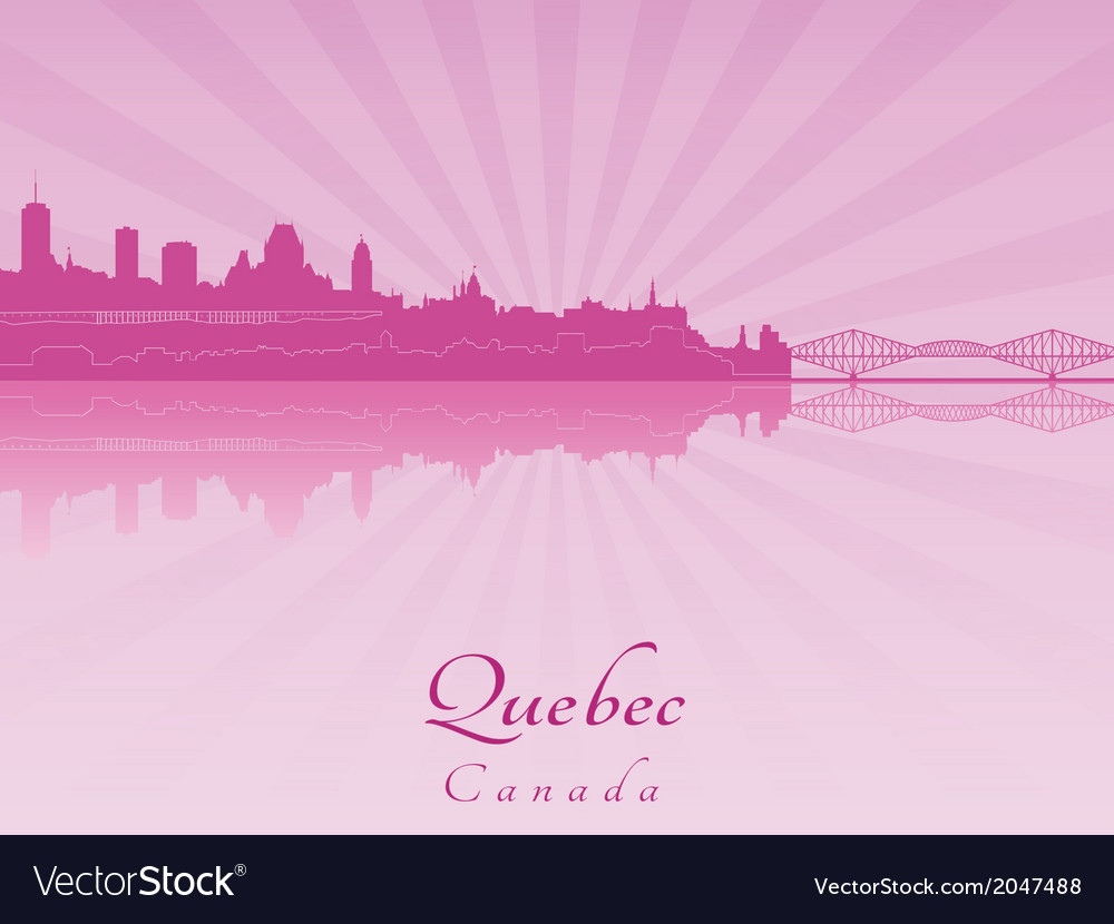 Quebec skyline in purple radiant orchid vector | Price: 1 Credit (USD $1)