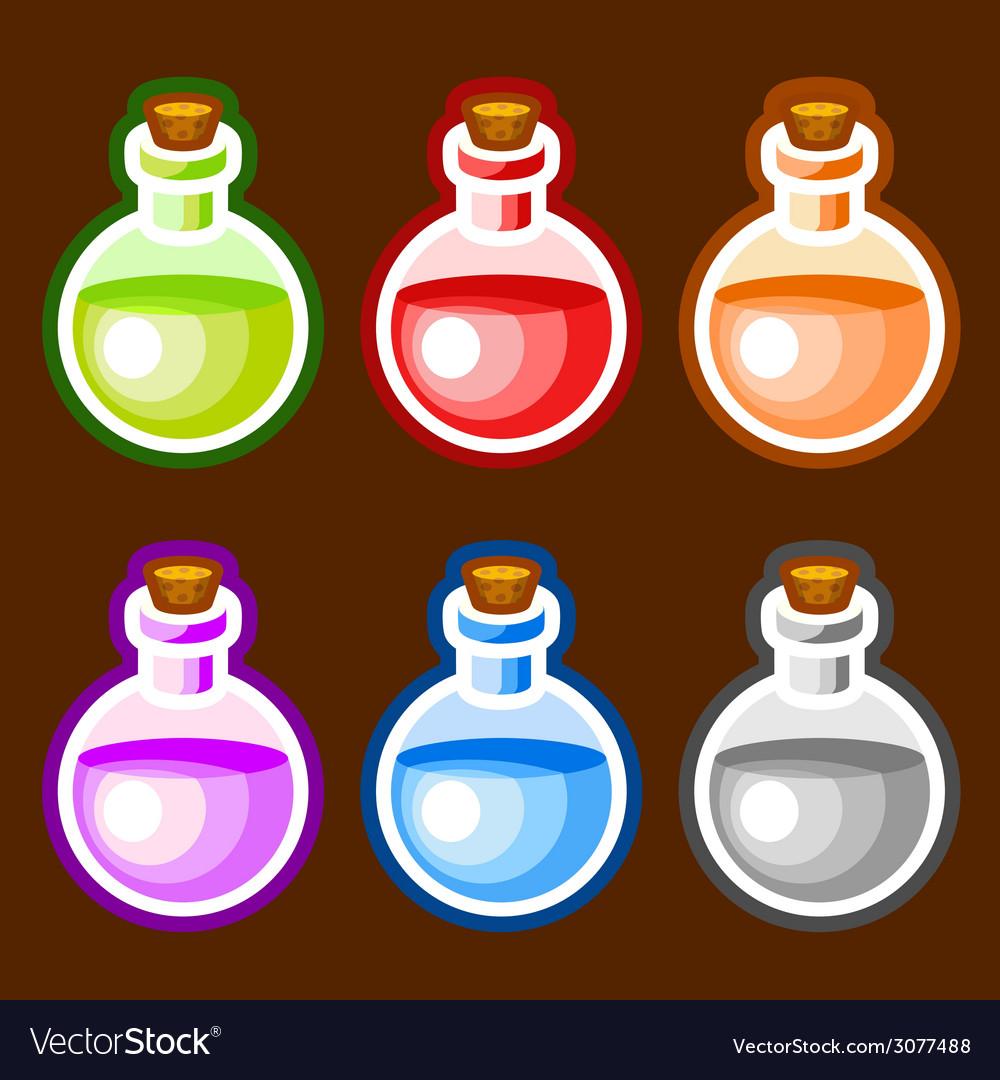 Round cartoon bottles liquids vector | Price: 1 Credit (USD $1)
