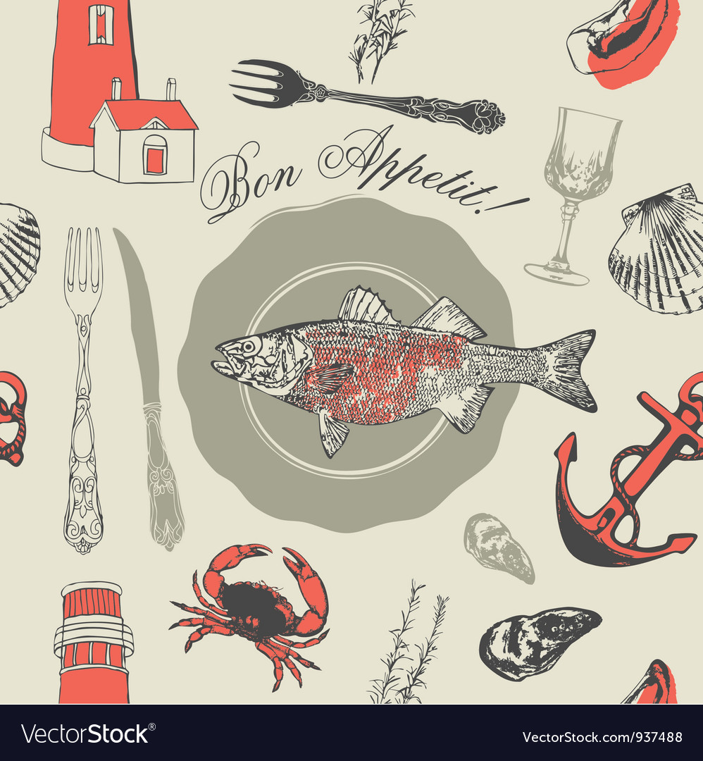 Seafood fish pattern vector | Price: 1 Credit (USD $1)