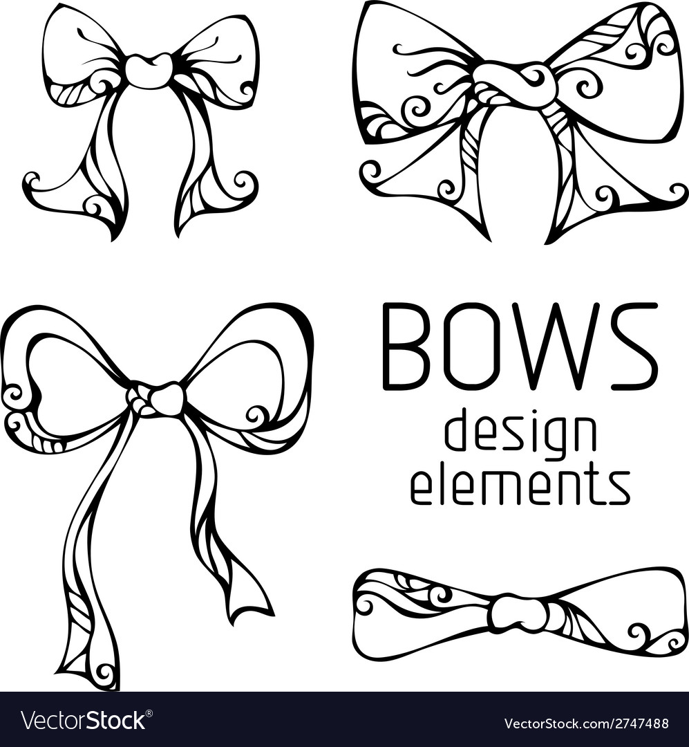 Set of hand-drawn bows vector | Price: 1 Credit (USD $1)