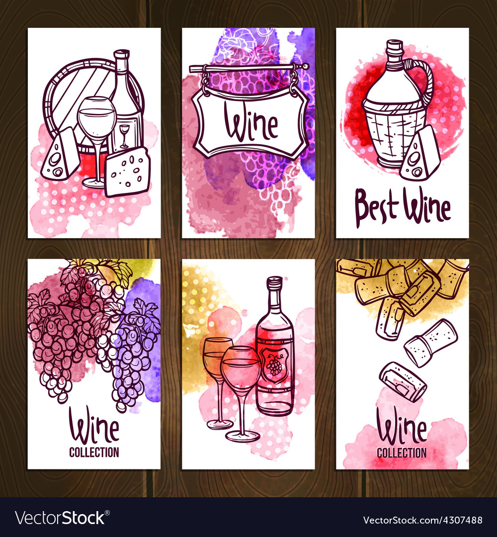 Wine cards set vector | Price: 1 Credit (USD $1)