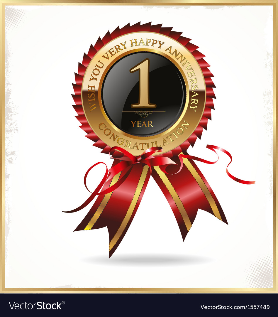 1 year anniversary label vector | Price: 1 Credit (USD $1)