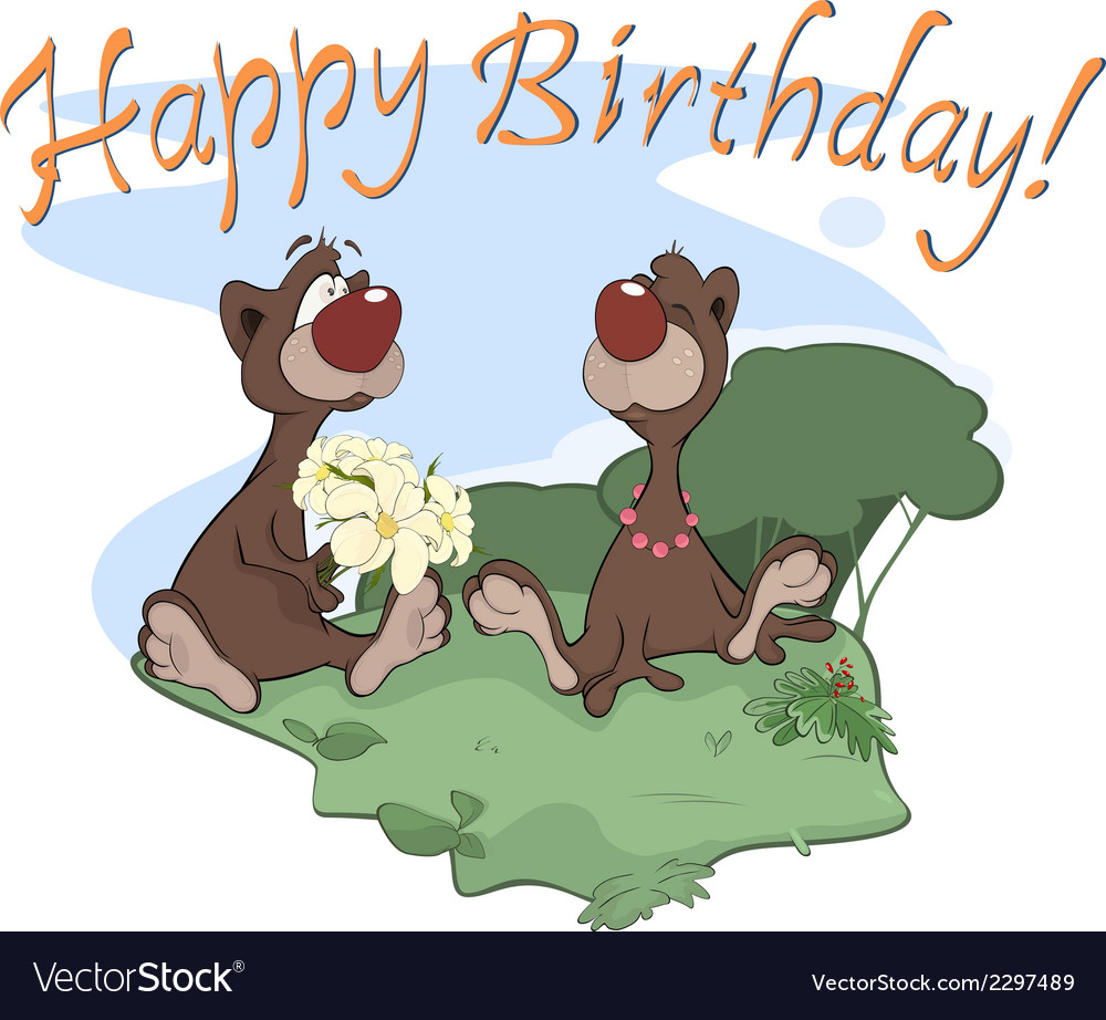Bears happy birthday postcard vector | Price: 1 Credit (USD $1)