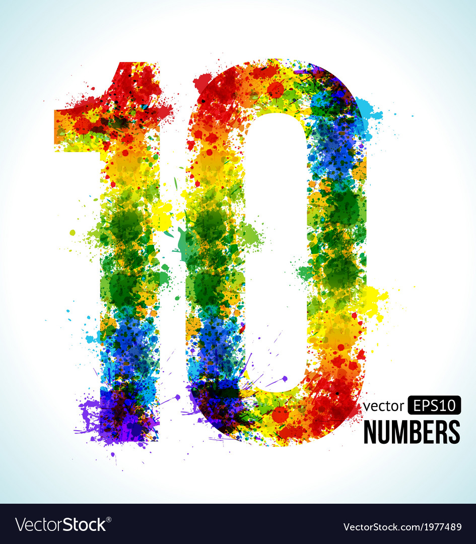 Color paint splashes gradient number 10 vector | Price: 1 Credit (USD $1)