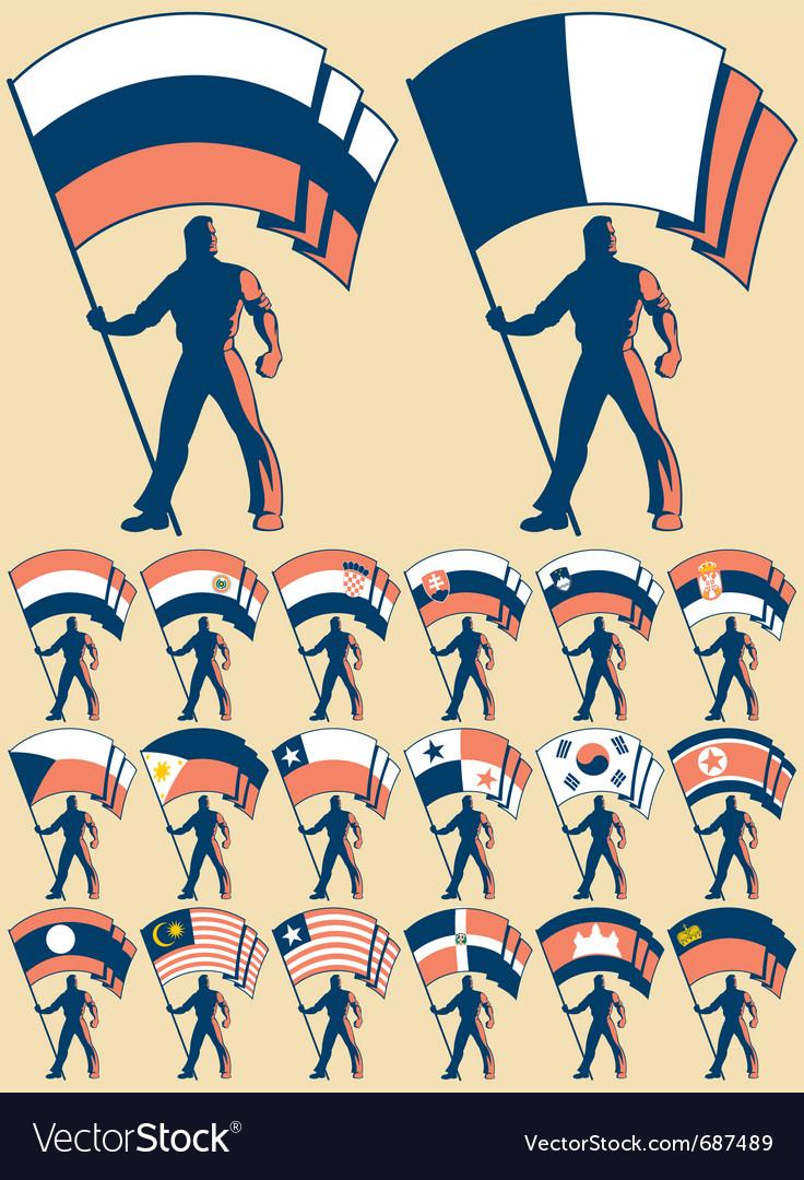 Flag bearer 3 vector | Price: 1 Credit (USD $1)