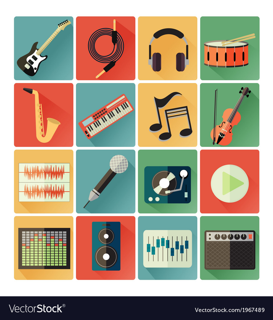 Flat icons music vector | Price: 1 Credit (USD $1)