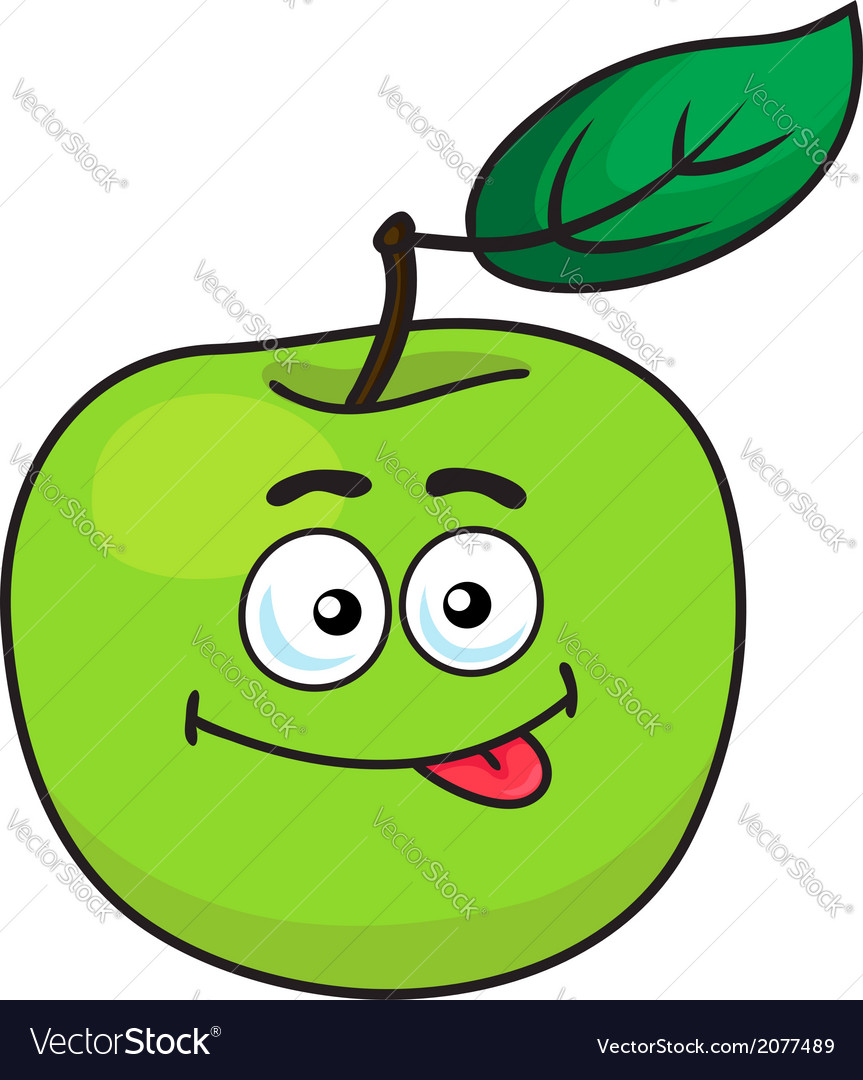 Green cartoon apple with goofy expression vector | Price: 1 Credit (USD $1)