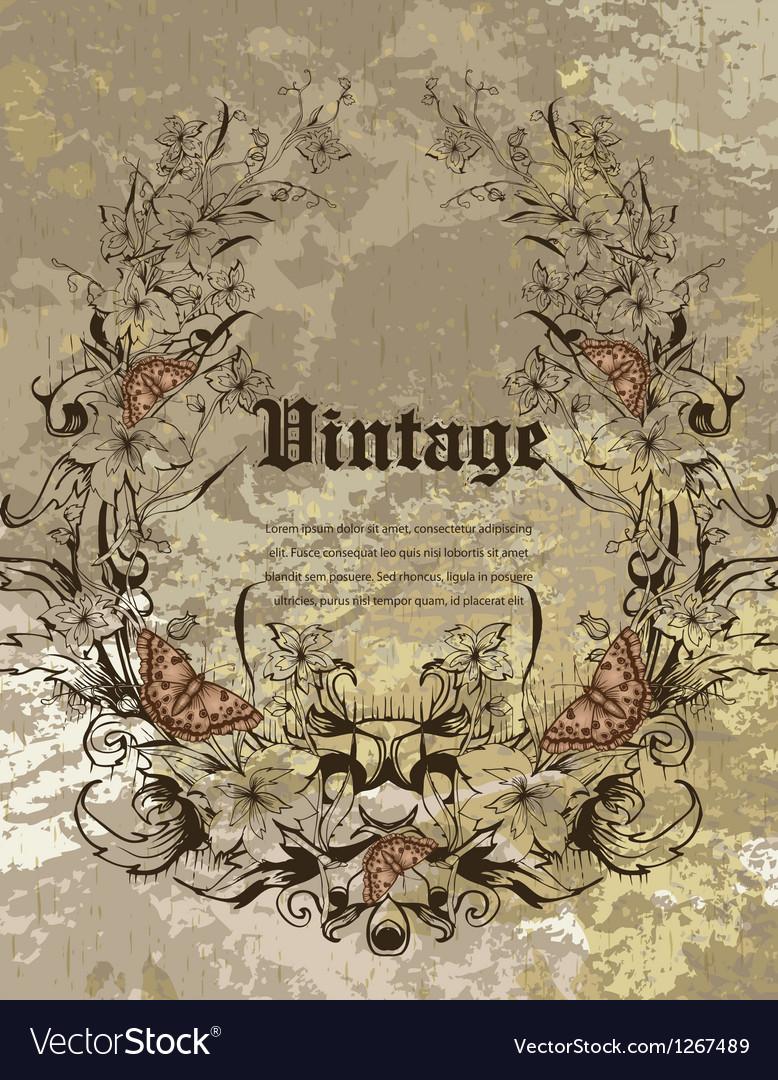 Grunge floral frame vector | Price: 1 Credit (USD $1)