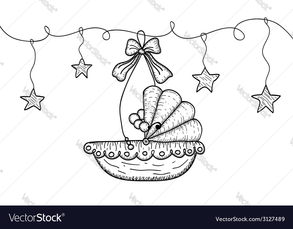 Hand drawn with hanging cradle and stars vector | Price: 1 Credit (USD $1)