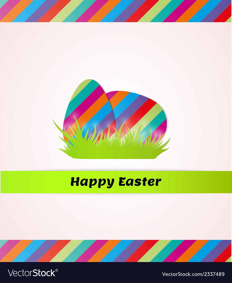 Happy easter with striped eggs in grass vector | Price: 1 Credit (USD $1)