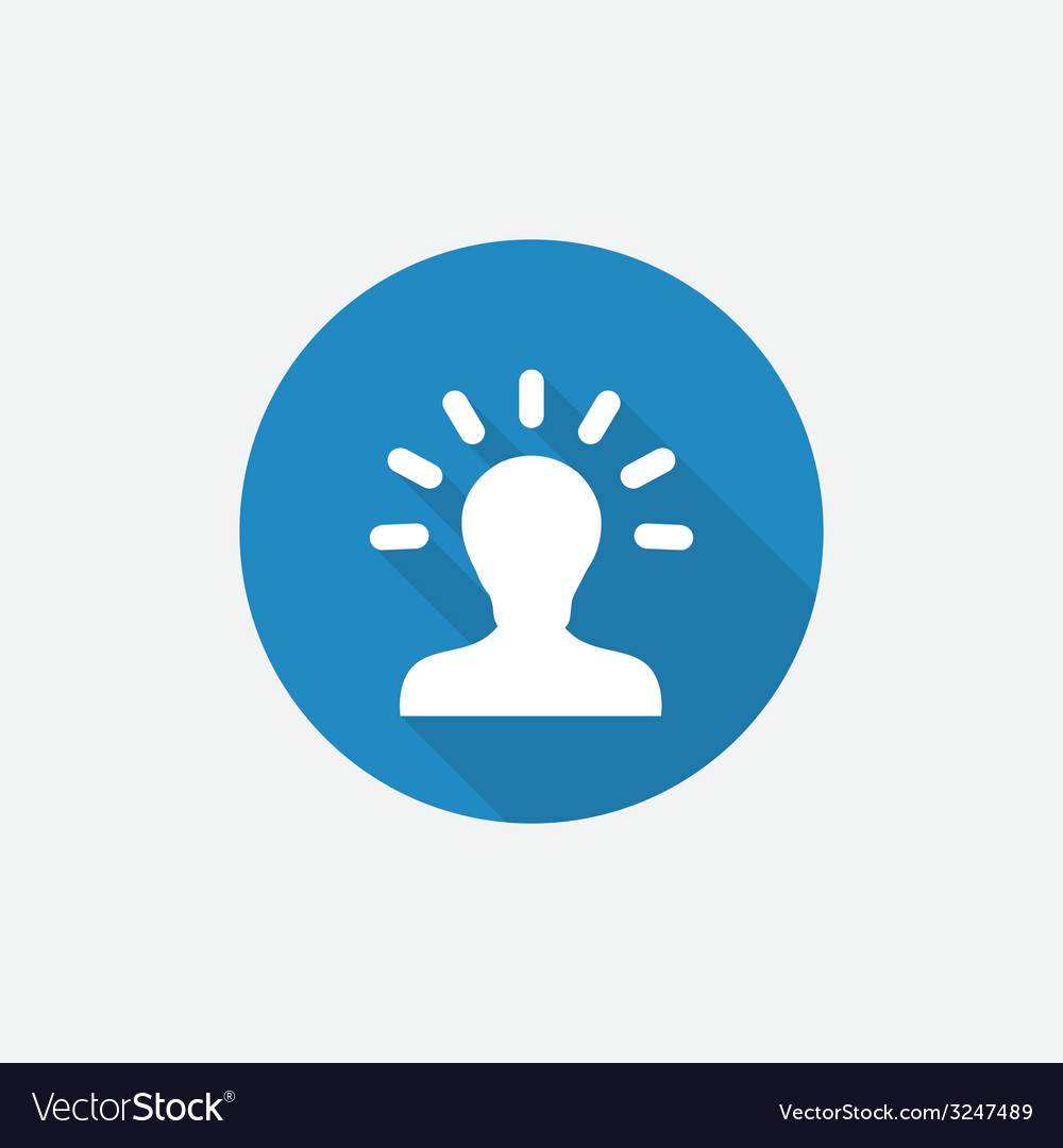 Idea flat blue simple icon with long shadow vector | Price: 1 Credit (USD $1)