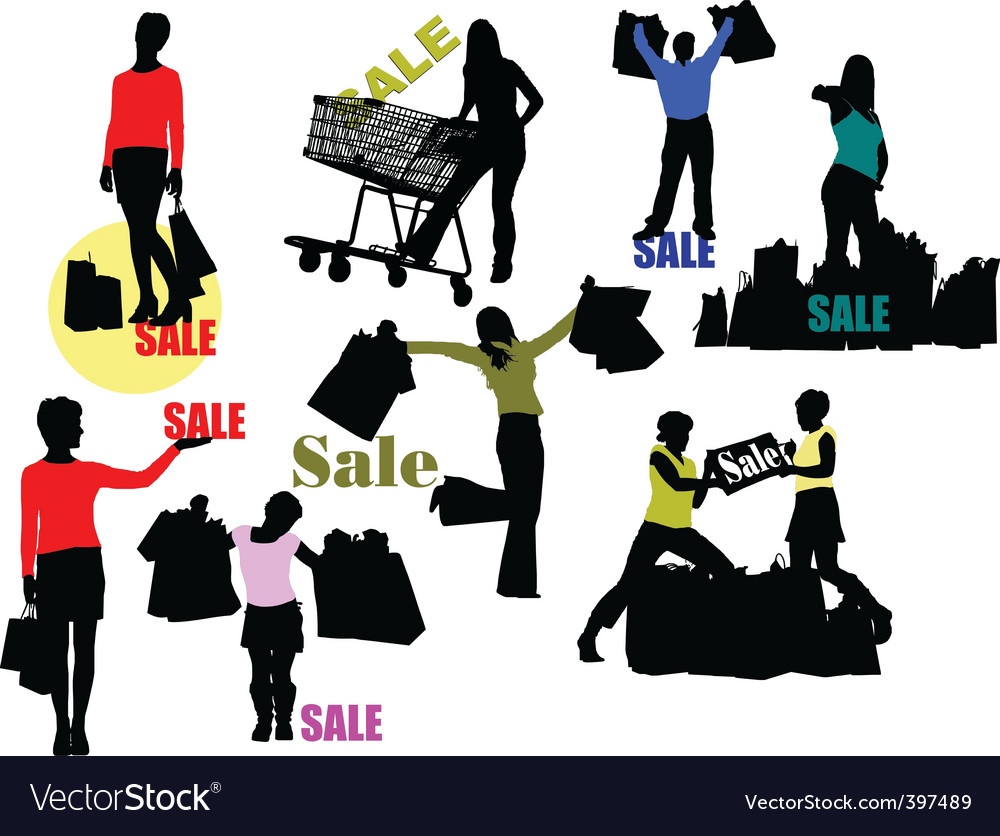 Retail shoppers vector | Price: 1 Credit (USD $1)