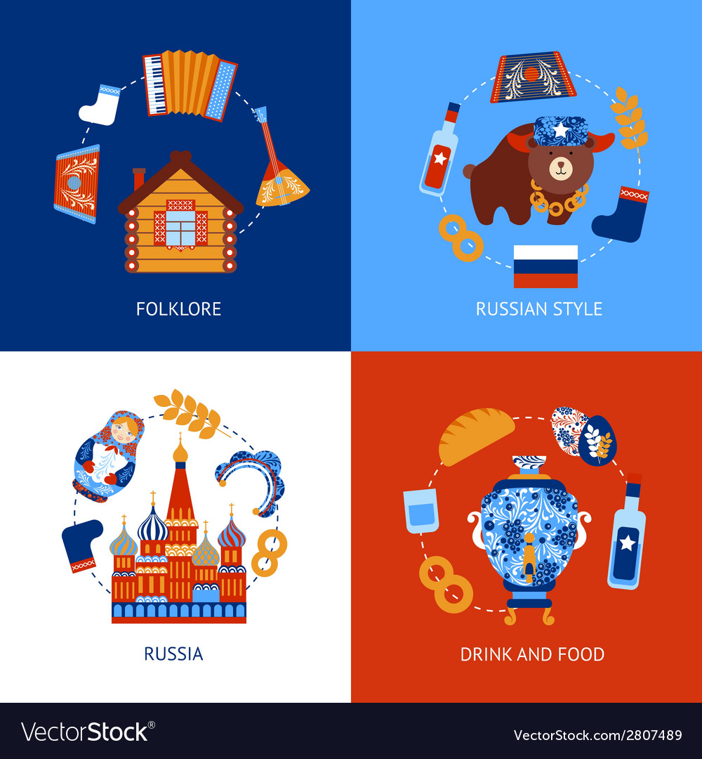 Russia travel flat set vector | Price: 1 Credit (USD $1)