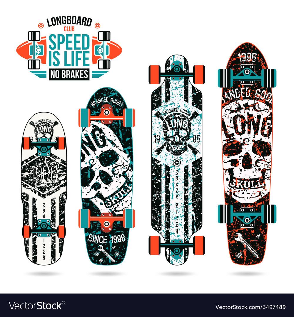 Set of skull prints on longboard vector | Price: 1 Credit (USD $1)