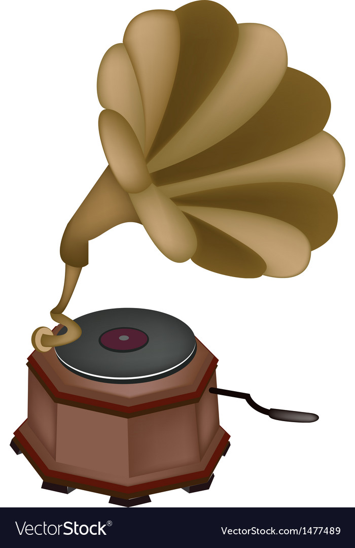 Vintage gramophone background vector | Price: 1 Credit (USD $1)