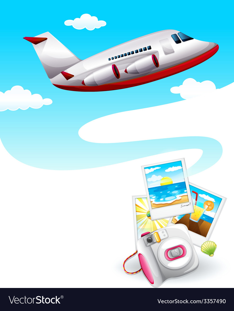 A picture of an airplane in the sky vector | Price: 3 Credit (USD $3)