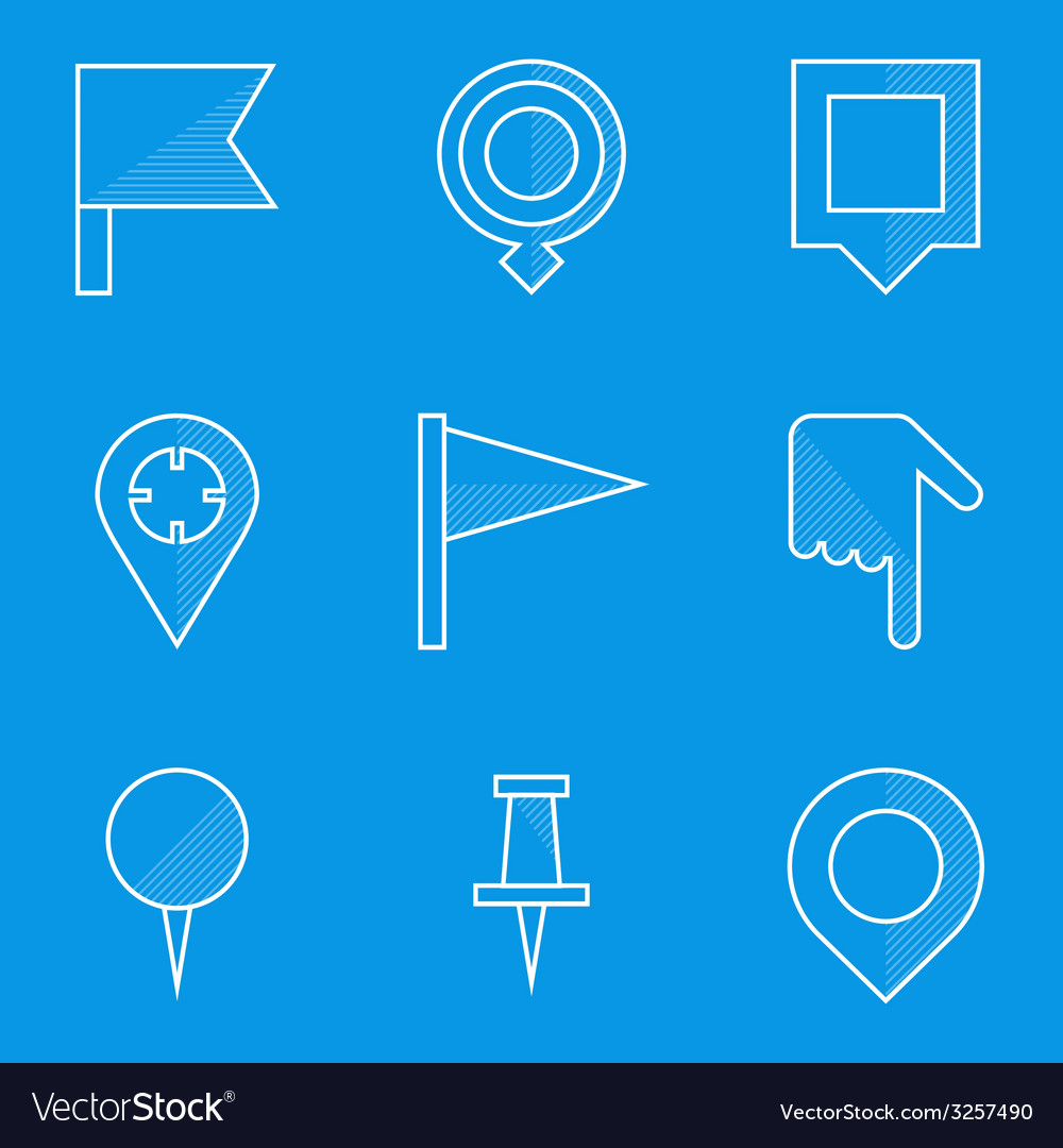 Blueprint icon set push pin map vector | Price: 1 Credit (USD $1)