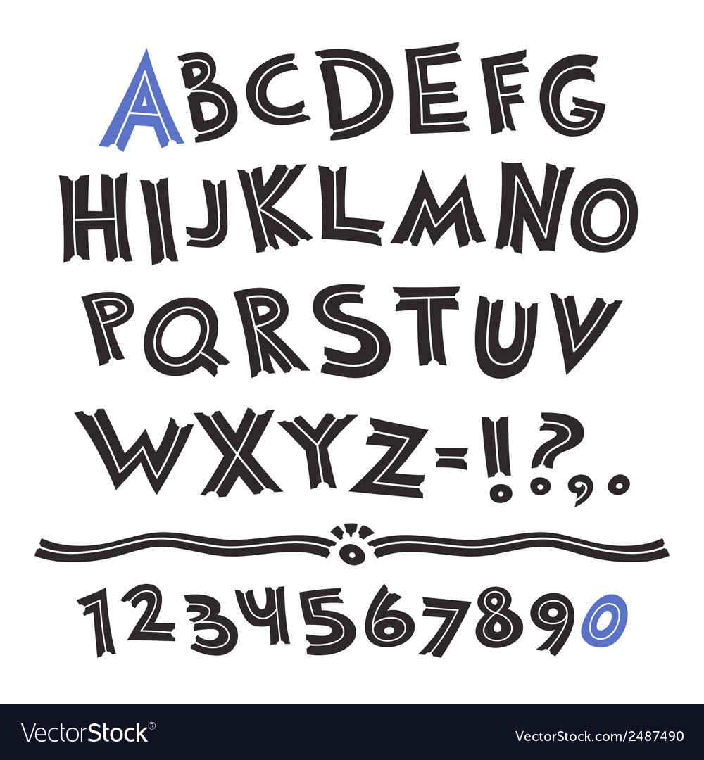 Cartoon retro font vector | Price: 1 Credit (USD $1)