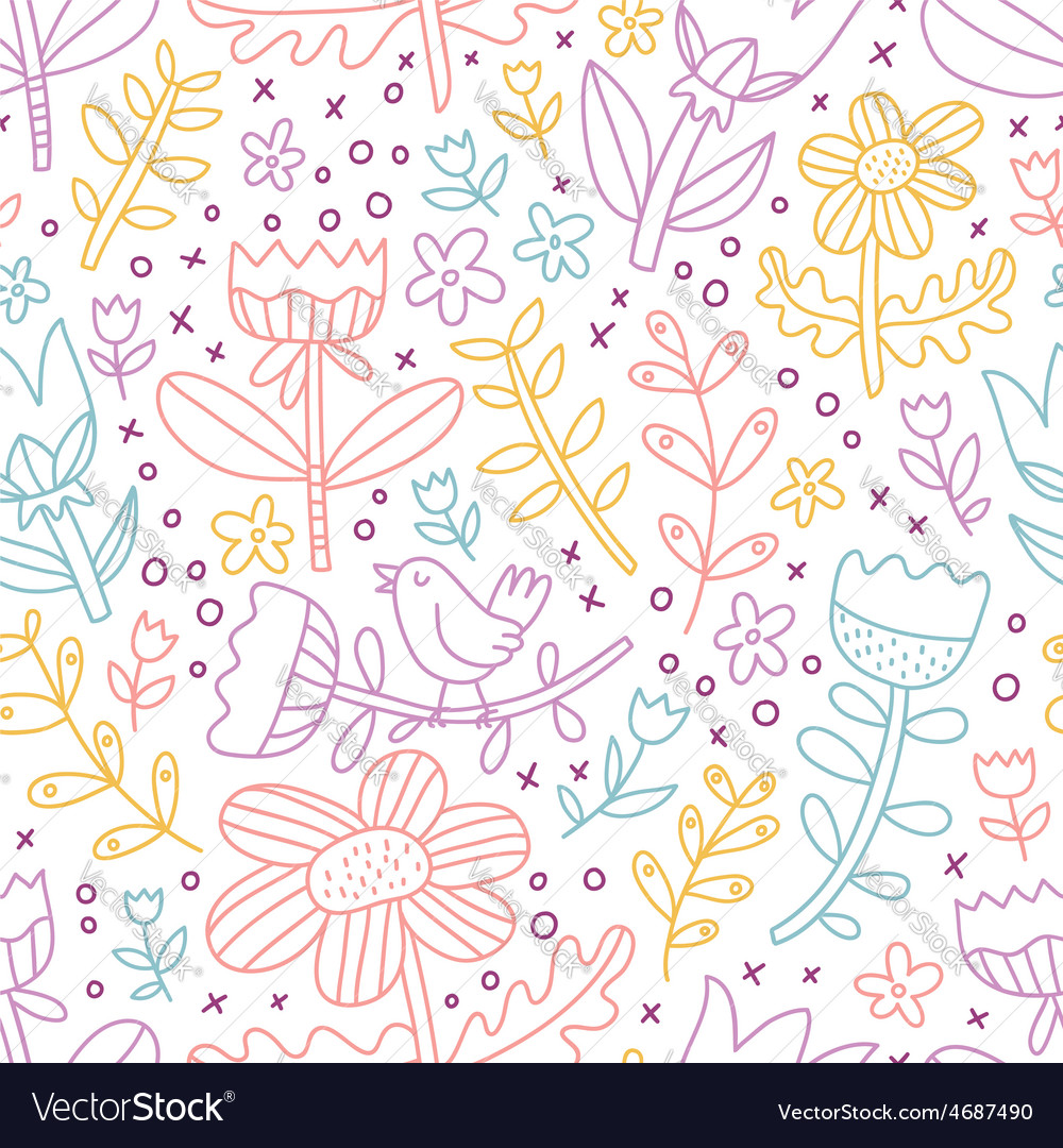 Colorful outline floral seamless pattern vector | Price: 1 Credit (USD $1)