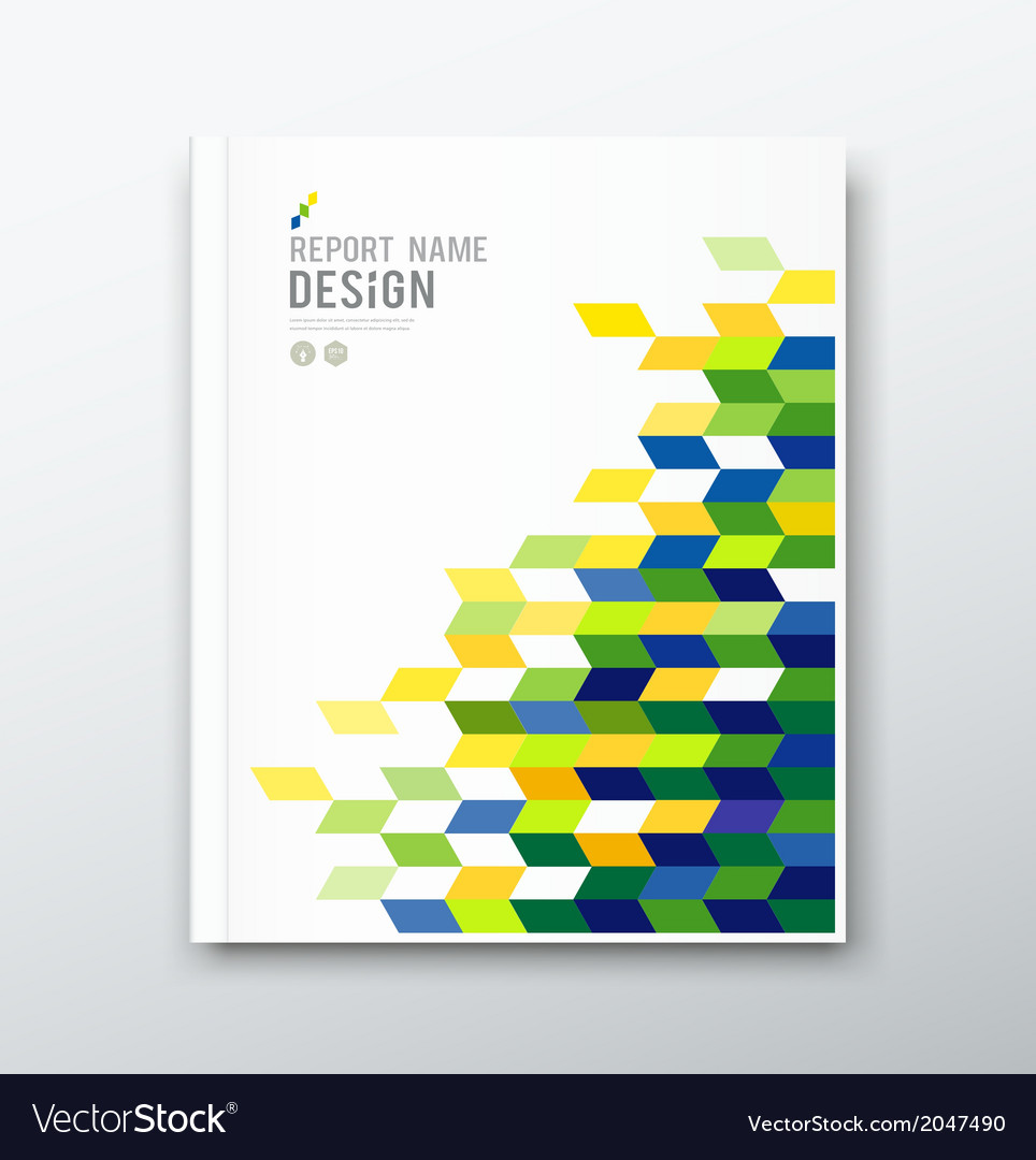 Cover annual report flag of brazil geometric desig vector