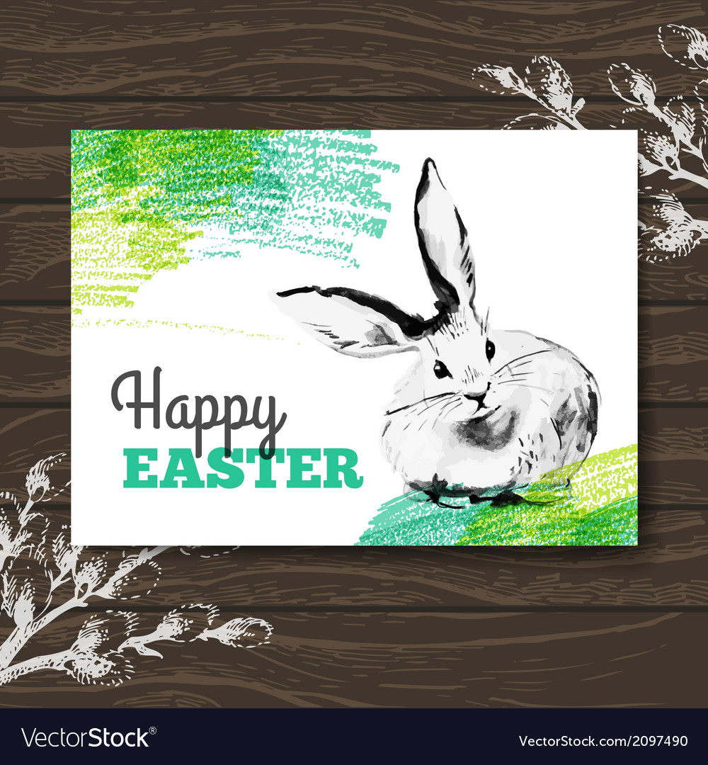 Easter card sketch watercolor easter rabbit vector | Price: 1 Credit (USD $1)