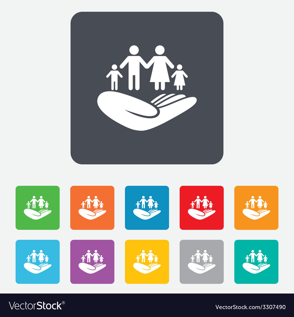 Family insurance sign hand holds human group vector | Price: 1 Credit (USD $1)
