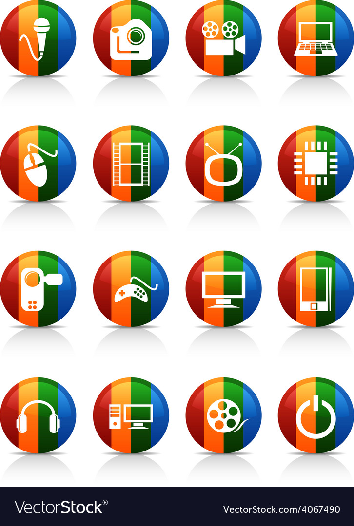 Multimedia buttons vector | Price: 1 Credit (USD $1)