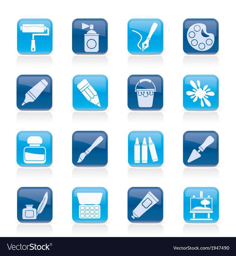 Painting and art object icons vector | Price: 1 Credit (USD $1)