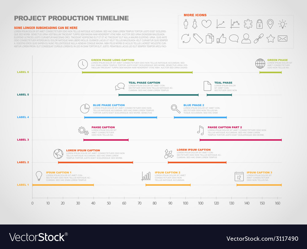 Project production timeline graph vector | Price: 1 Credit (USD $1)