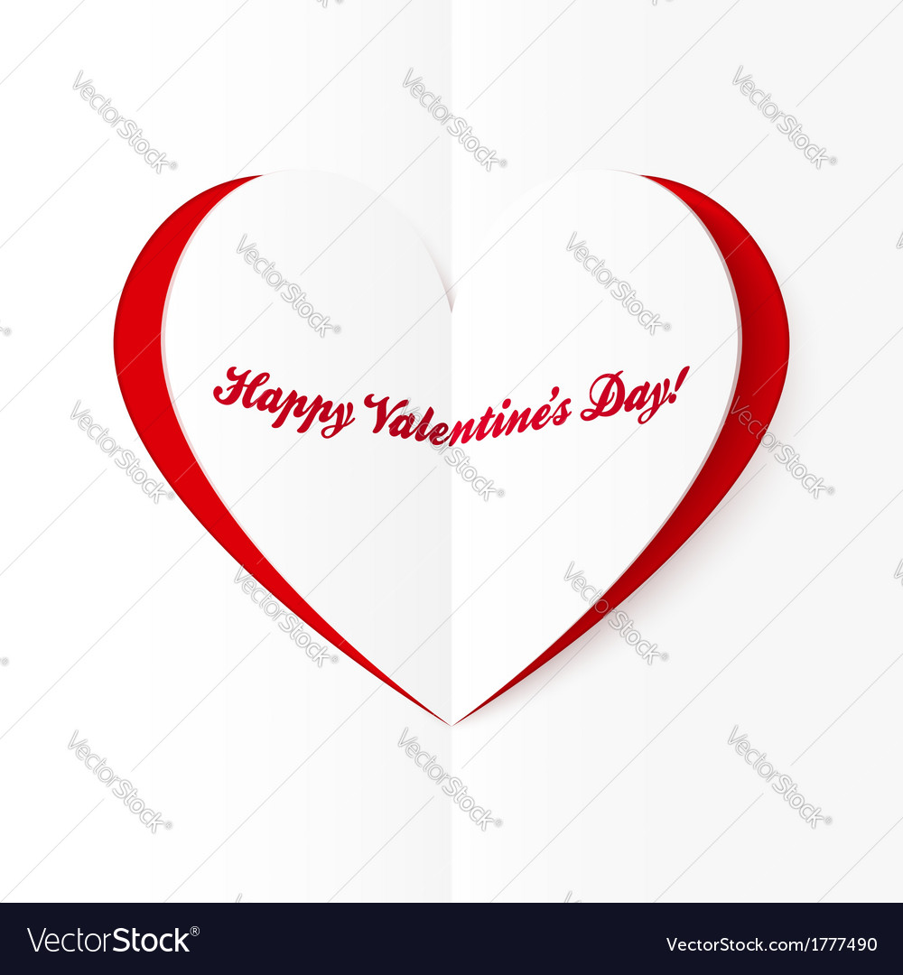 Red and white cutout heart valentines card vector | Price: 1 Credit (USD $1)