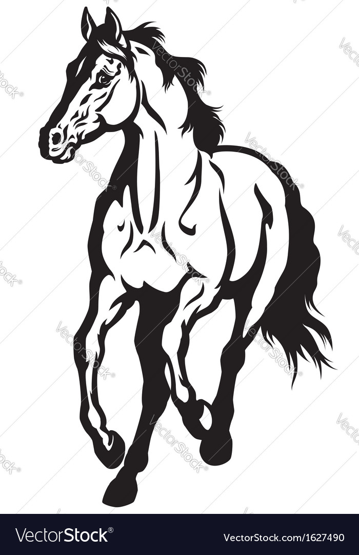 Running horse black white vector | Price: 1 Credit (USD $1)