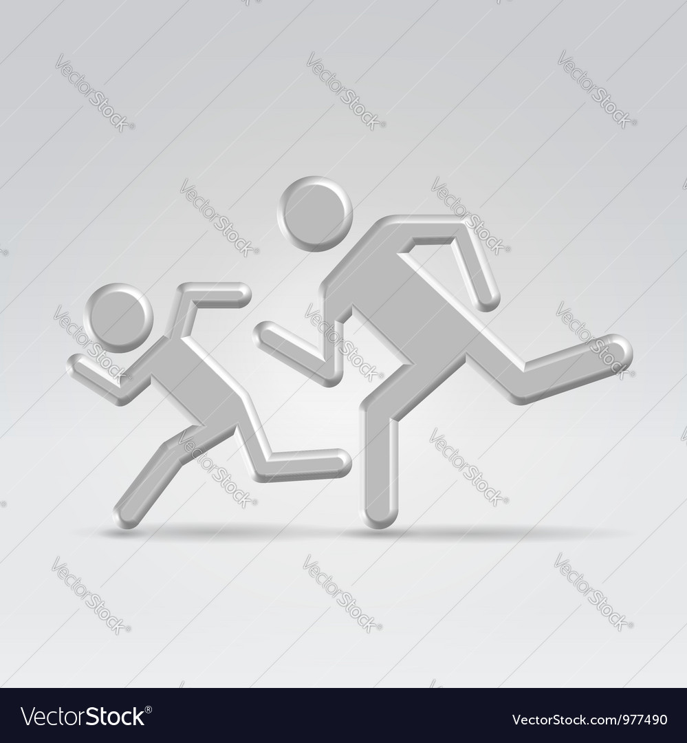 Silver icon running children vector | Price: 1 Credit (USD $1)