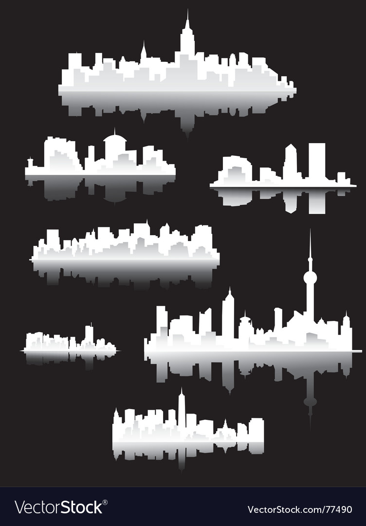 Town silhouettes vector | Price: 1 Credit (USD $1)