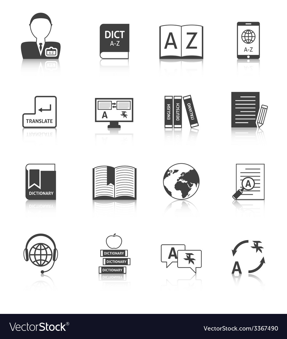 Translation and dictionary icons set vector | Price: 1 Credit (USD $1)