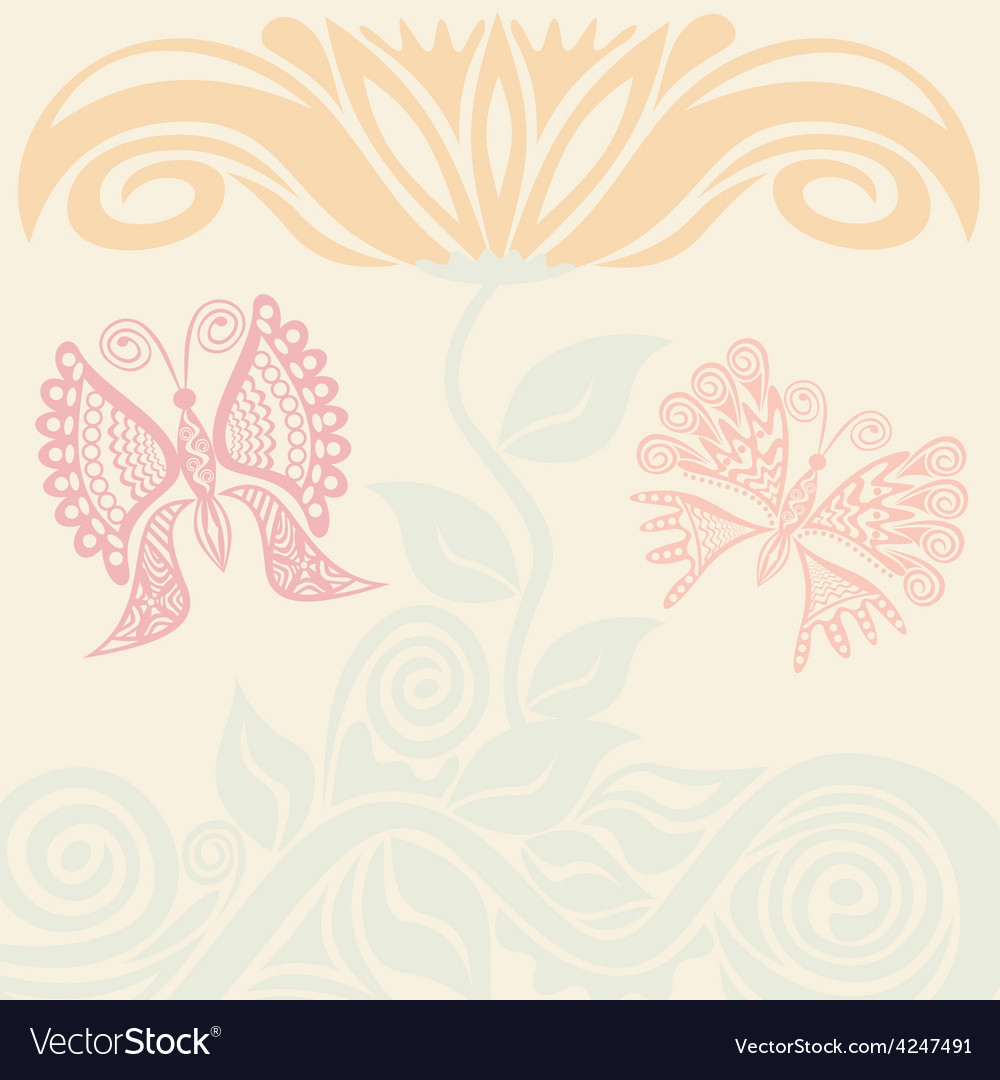 Beautiful flower and butterflies vector | Price: 1 Credit (USD $1)