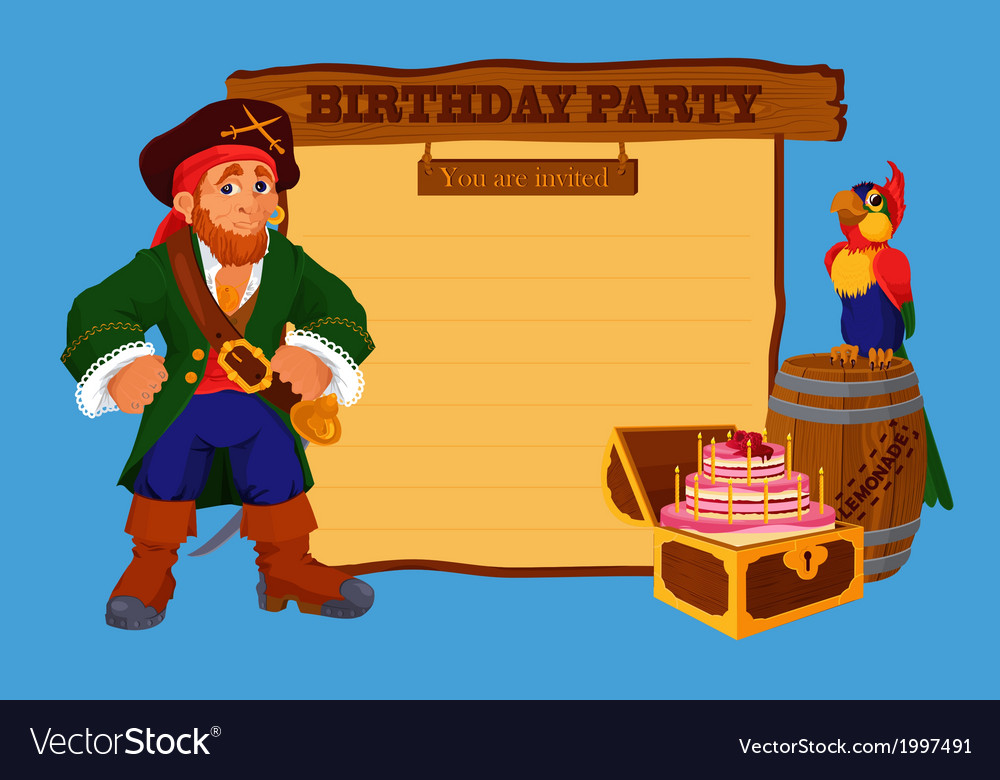 Birthday party invitation card with pirate vector | Price: 1 Credit (USD $1)