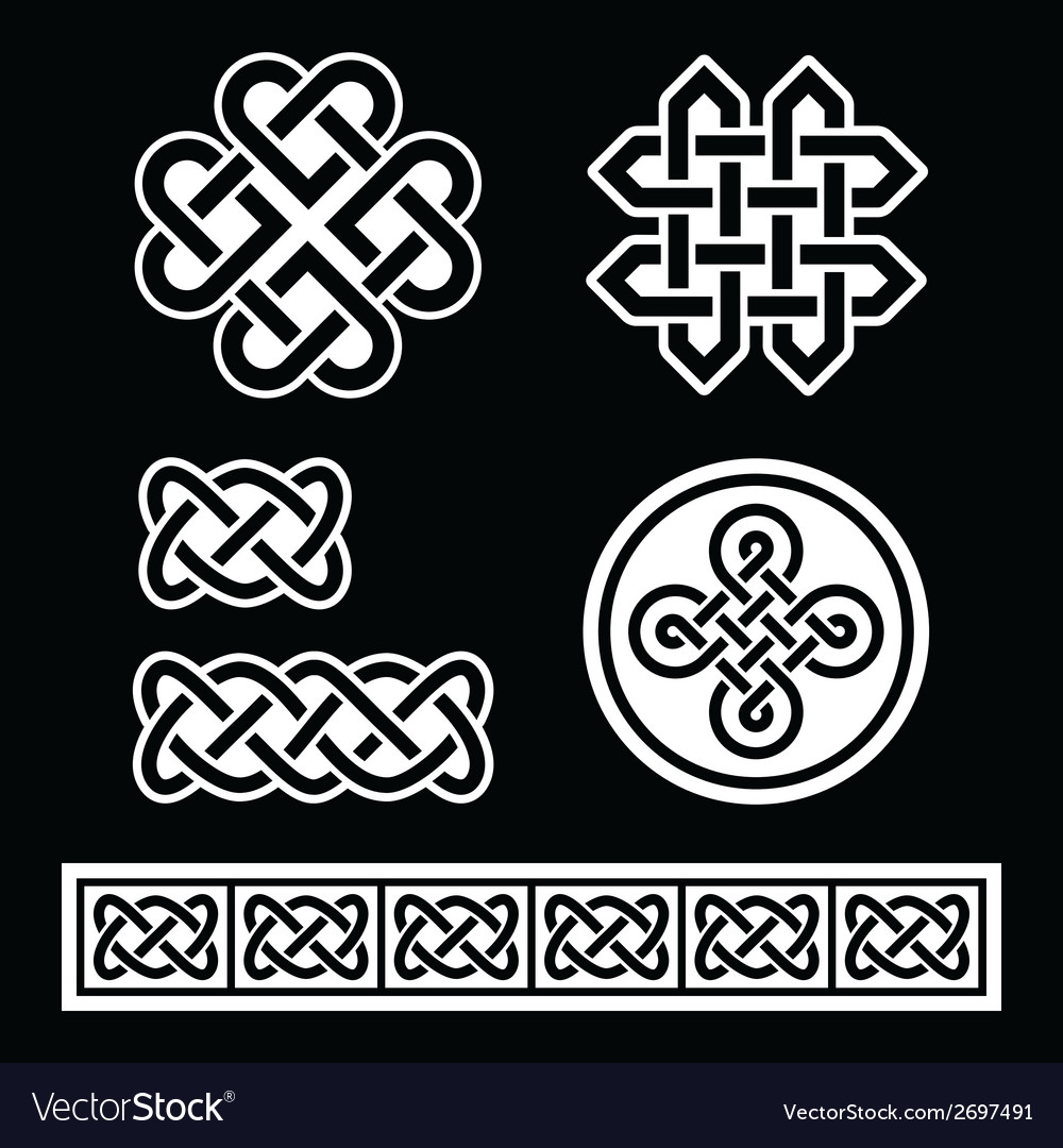 Celtic irish patterns and braids on black vector | Price: 1 Credit (USD $1)